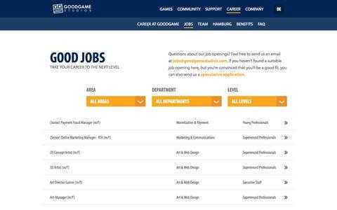 Screenshot of Jobs Page goodgamestudios.com - Job openings | Goodgame Studios - captured Oct. 28, 2014