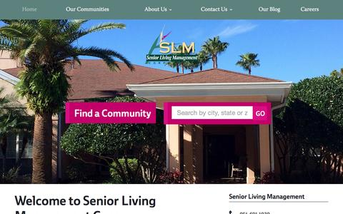 Screenshot of Home Page slm.net - Senior Living Management | Senior Living - captured Feb. 13, 2016