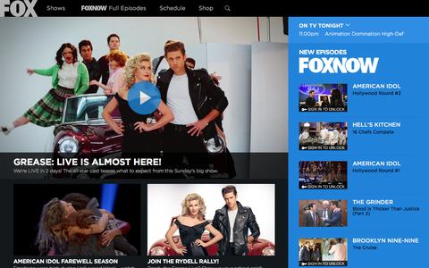 Screenshot of Home Page fox.com - FOX Broadcasting Company | Full Episodes, Shows, Schedule - captured Jan. 30, 2016