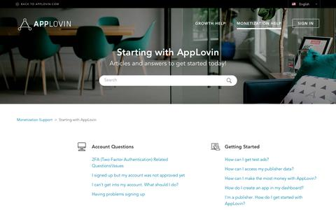 Screenshot of Support Page applovin.com - Starting with AppLovin – Monetization Support - captured March 1, 2019