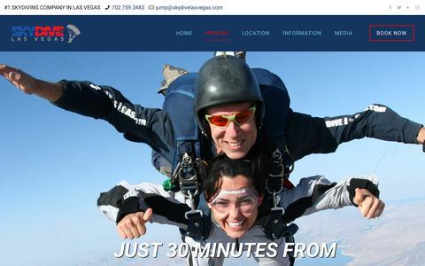 Screenshot of Pricing Page skydivelasvegas.com - Skydiving pricing Las Vegas | Skydive Las Vegas - captured Nov. 14, 2017