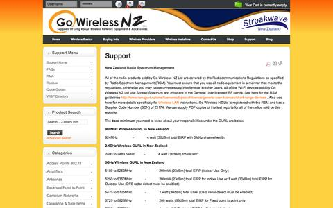 Screenshot of Support Page gowifi.co.nz - Support   Support - captured Oct. 2, 2014