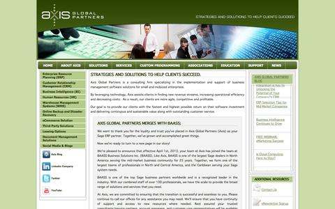 Screenshot of Home Page axisgp.com - Axis Global Partners | Sage Software business partner - captured Oct. 4, 2014