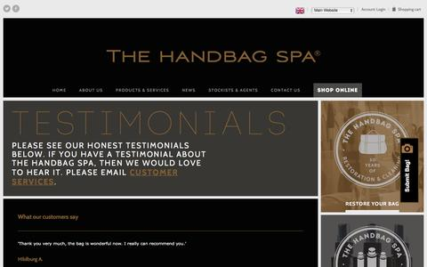 Screenshot of Testimonials Page thehandbagspa.com - Testimonials | The Handbag Spa - captured Feb. 15, 2016