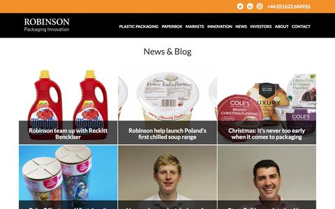 Screenshot of Press Page robinsonpackaging.com - News Archive • Robinson Packaging - captured Sept. 27, 2016