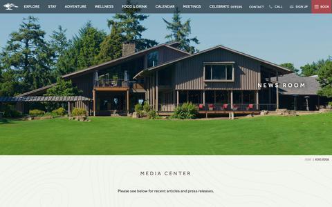 Screenshot of Press Page salishan.com - Resorts on the Oregon Coast | Salishan Resort - News Room - captured Nov. 12, 2018