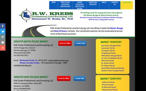 Screenshot of Locations Page rwkrebsllc.com - R.W. Krebs Professional Land Surveying is located in the Greater Baton Rouge and New Orleans Areas. - captured Dec. 20, 2016