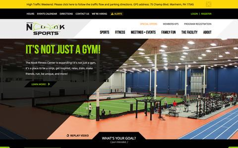 Screenshot of Home Page spookynooksports.com - Spooky Nook | An Indoor Sports Complex & Facility for Teams, Tournaments, Sports Training, Sports Clinics, Fitness, & More! - captured Jan. 13, 2016