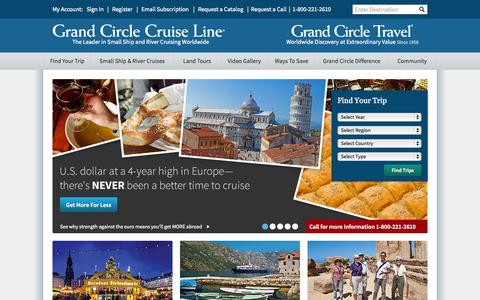 Screenshot of Home Page gct.com - River Cruises & Escorted Tours - Grand Circle Travel: Worldwide Discovery at Extraordinary Value | Grand Circle Travel - captured Jan. 23, 2015