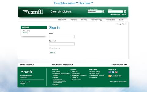 Screenshot of Login Page camfil.com - Sign in - Camfil - captured Oct. 20, 2016