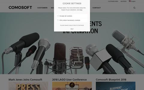 Screenshot of Press Page comosoft.com - NEWS & EVENTS - Comosoft - captured Nov. 5, 2018