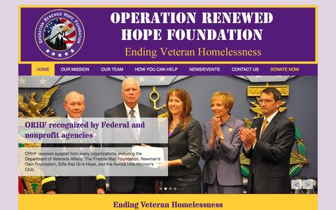 Screenshot of Home Page Menu Page operationrenewedhopefoundation.org - Operation Renewed Hope Foundation | Ending Veteran Homelessness - captured Oct. 1, 2014