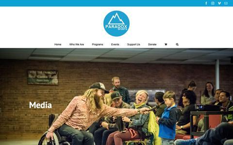 Screenshot of Press Page paradoxsports.org - Media – Paradox Sports - captured Dec. 7, 2018