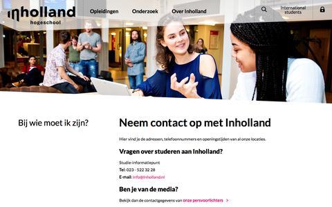 Screenshot of Contact Page inholland.nl - Contact met Inholland   Hogeschool Inholland - captured Nov. 15, 2019