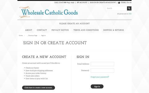 Screenshot of Login Page wholesalecatholicgoods.com - Wholesale Catholic Goods - Sign in - captured Oct. 9, 2014