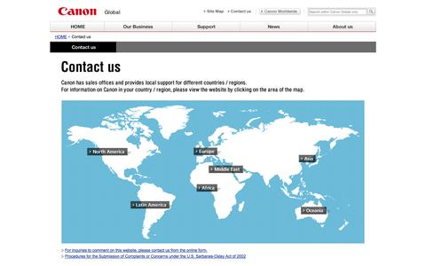 Screenshot of Contact Page canon.com - Canon Global : Contact us - captured Sept. 19, 2014