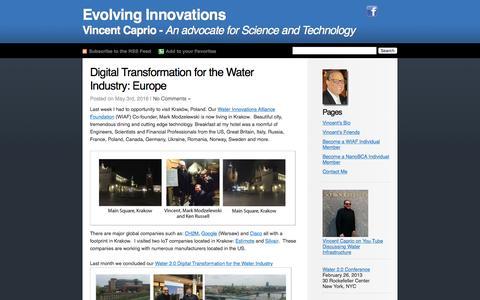 Screenshot of Home Page vincentcaprio.org - Vincent Caprio's Blog Evolving Innovations - captured May 10, 2016