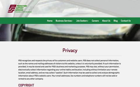 Screenshot of Privacy Page pssinc.net - Privacy - Production Support Services - captured Feb. 1, 2016