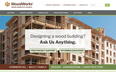 Screenshot of Home Page woodworks.org - WoodWorks | Wood Products Council - captured June 15, 2019