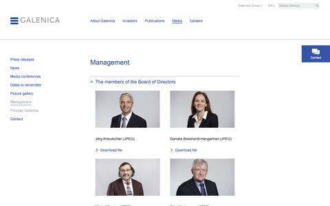Screenshot of Team Page galenica.com - Management - Galenica.com - captured Sept. 26, 2018