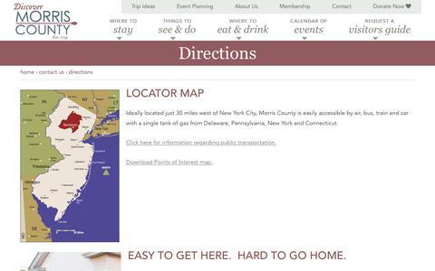 Screenshot of Maps & Directions Page morristourism.org - Directions - captured Oct. 21, 2017