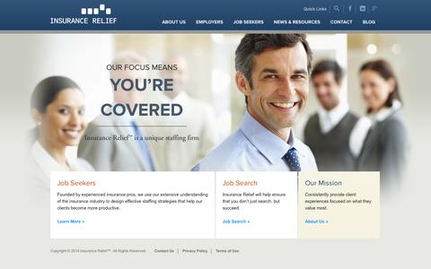 Screenshot of Home Page insurance-relief.com - Insurance Relief | - captured Sept. 30, 2014