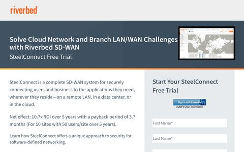 Screenshot of Trial Page riverbed.com - Solve Cloud Network and Branch LAN/WAN Challenges with Riverbed SD-WAN - captured April 3, 2017