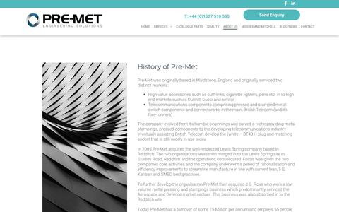 Screenshot of About Page metalpressingsandstampings.co.uk - Pre-Met Ltd | About Us - captured Sept. 28, 2018