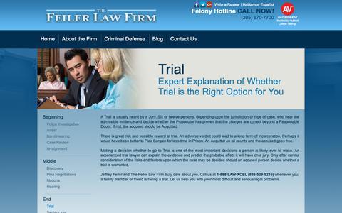 Screenshot of Trial Page jeffreyfeiler.com - Trial - The Feiler Law Firm - captured Nov. 14, 2018