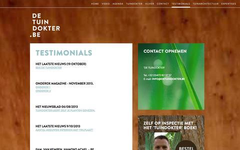 Screenshot of Testimonials Page detuindokter.be - De Tuindokter | testimonials - captured Oct. 27, 2014