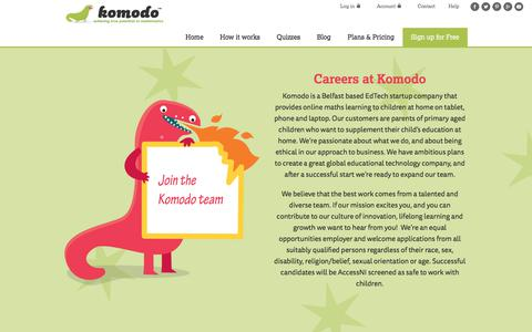 Screenshot of Jobs Page komodomath.com - We're Hiring! Careers at Komodo Learning - captured Oct. 17, 2017