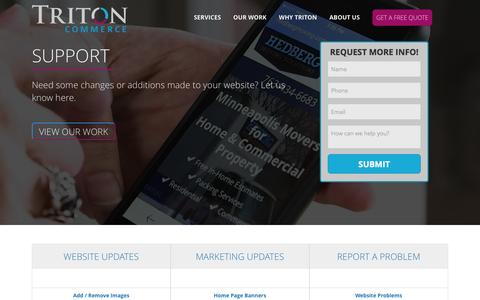 Screenshot of Support Page tritoncommerce.com - Triton Commerce > Support - captured Feb. 27, 2016
