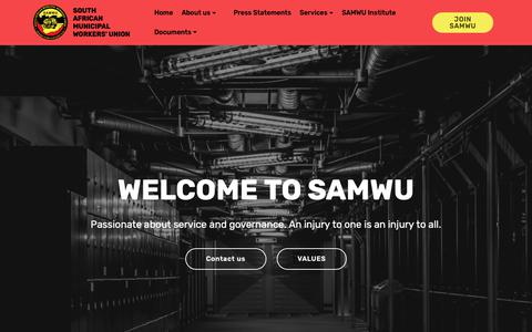 Screenshot of About Page Contact Page Terms Page samwu.org.za - Home - captured Oct. 30, 2018