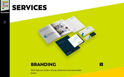 Screenshot of Services Page fellowship.agency - Fellowship | Branding | Graphic Design | Web Design | Digital Marketing - captured March 16, 2019