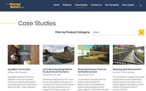 Screenshot of Case Studies Page fostersupply.com - Case Studies - captured Aug. 20, 2018
