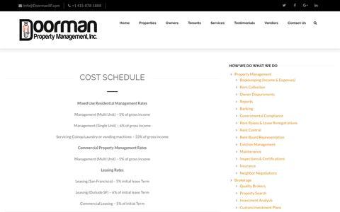 Screenshot of Pricing Page doormansf.com - Cost Schedule - Doorman Property Management, Inc. - captured Nov. 24, 2016