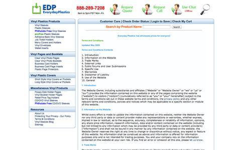 Screenshot of Terms Page everydayplastics.com - Plastic Vinyl Sleeves & Holders - Start Saving Now - captured Oct. 3, 2014