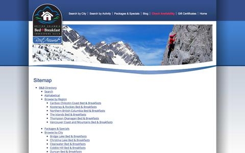 Screenshot of Site Map Page bcsbestbnbs.com - Sitemap: British Columbia Bed & Breakfast Innkeepers Guild - captured Oct. 11, 2017
