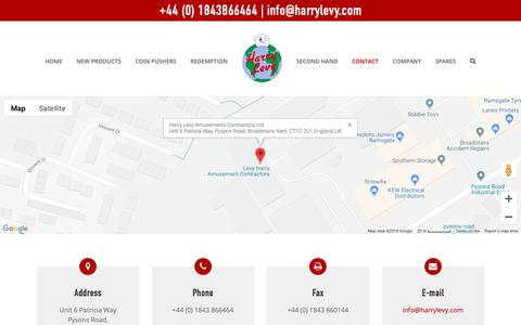 Screenshot of Contact Page harrylevy.com - Contact – Harry Levy Amusements Contractors Ltd. - captured Sept. 27, 2018