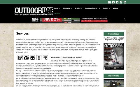 Screenshot of Services Page outdooruae.com - Services - OutdoorUAE - captured Nov. 12, 2017