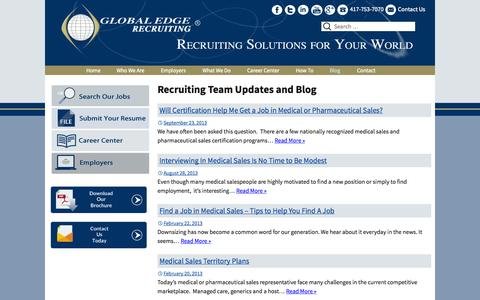 Screenshot of Blog globaledgerecruiting.com - Blog | Executive Search Firm | Recruiters | Global Edge Recruiting - captured Sept. 30, 2014
