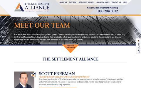 Screenshot of Team Page settlement-alliance.com - About The Settlement Alliance | Settlement Planning | Our Team - captured Feb. 15, 2016