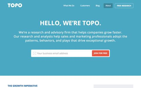 Screenshot of About Page topohq.com - About - TOPO - captured Oct. 31, 2014