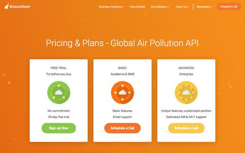 Screenshot of Pricing Page breezometer.com - Pricing & Plans - Global Air Pollution API | BreezoMeter - captured March 11, 2017