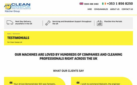 Screenshot of Testimonials Page cleansweephire.co.uk - Clean Sweep UK » Hire & buy Karcher Industrial Cleaning Equipment » Testimonials - captured Aug. 4, 2017