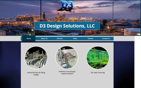 Screenshot of Home Page d3ds.net - D3 Design Solutions, Plant, Piping Design, 3D Laser Scaning, St. Louis - captured Oct. 5, 2014