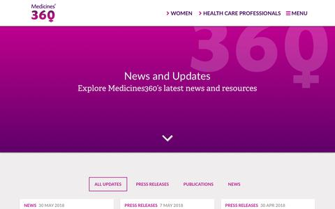 Screenshot of Press Page medicines360.org - News and Updates – Medicines360 - captured July 27, 2018