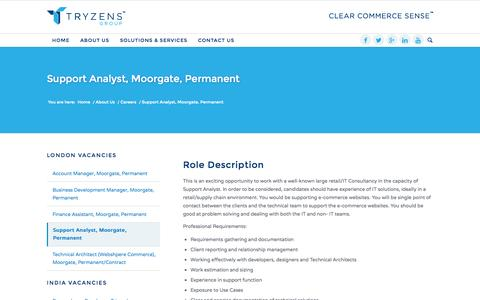 Screenshot of Support Page tryzens.com - Support Analyst, Moorgate, Permanent - Tryzens - Clear Commerce Sense - captured Oct. 29, 2014