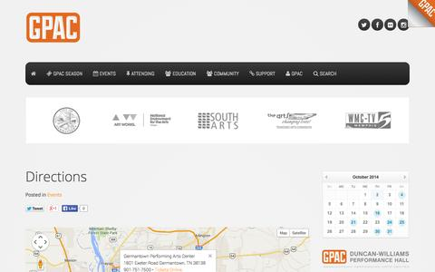 Screenshot of Maps & Directions Page gpacweb.com - Directions - Germantown Performing Arts Center - captured Oct. 2, 2014