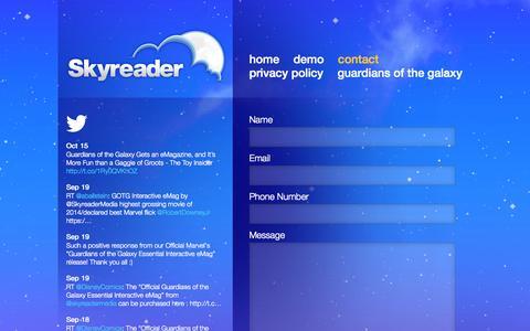 Screenshot of Contact Page skyreader.ca - Contact   Skyreader Media Inc - captured Oct. 26, 2014